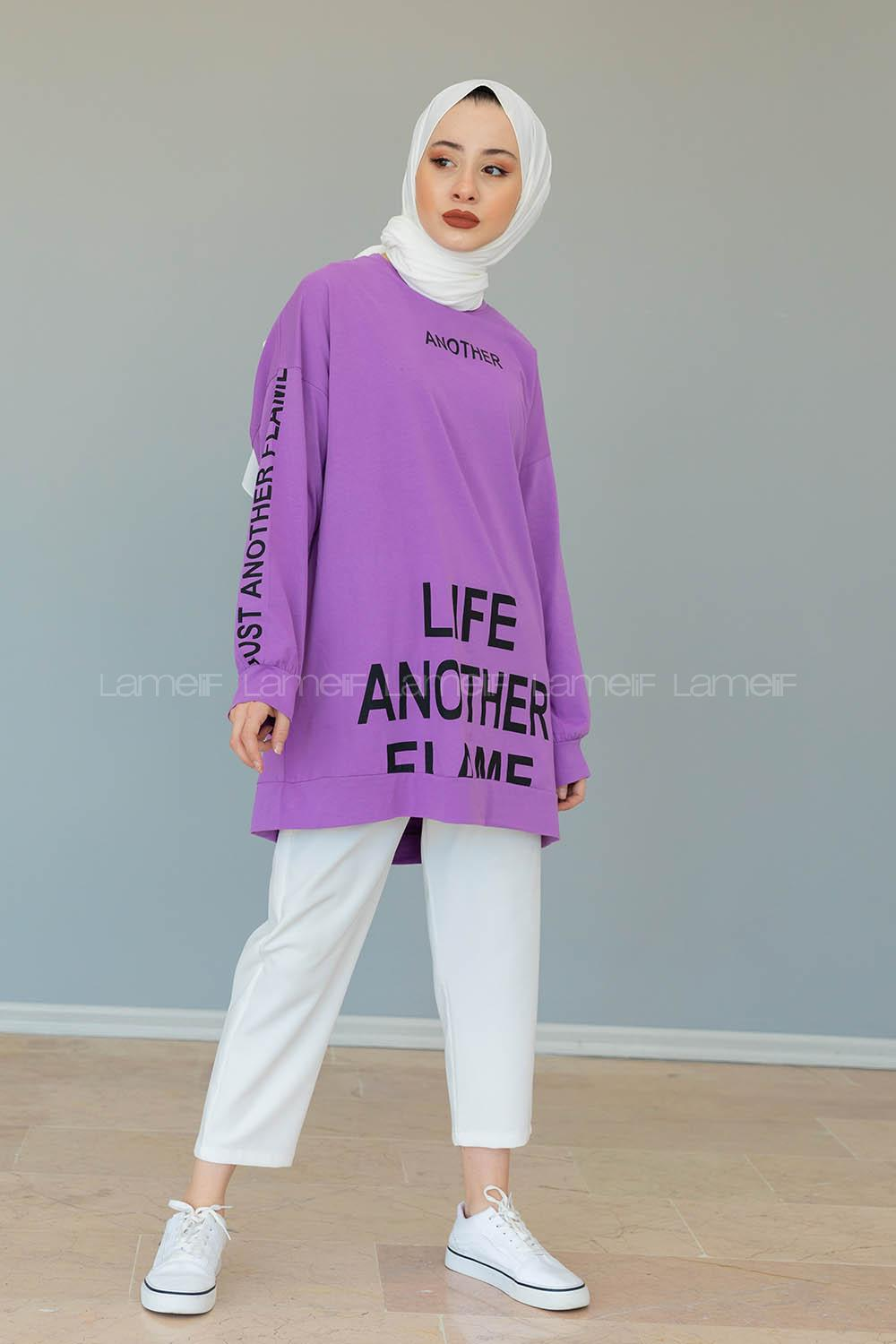 Lamelif Another Yazı Baskılı Sweatshirt Lila