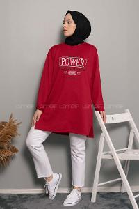 Modalamelif Power Baskı Sweatshirt Bordo