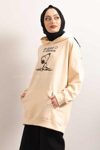 Modalamelif Kapşonlu Do Good Sweatshirt Bej